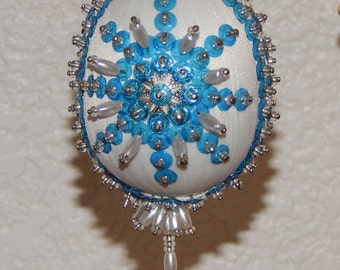 Hand Sequined and Beaded Blue Starburst Ornament
