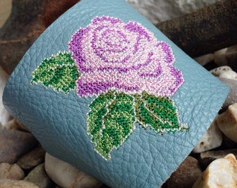 Leather embroidered bracelet, Embroidered bracelet, Ethnic embroidery, ethnic bracelet, Cross Stitch, Bracelets Rose, summer accessory,Cross