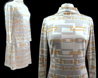 Vintage 70s Dress Op Art Mod Mini Funnel Neck Polyester Geometric M L
