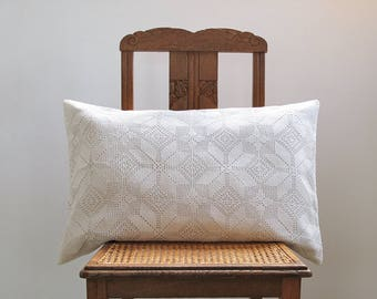 1 Crochet Pillow cover , Cushion cover in French antique linen and crocheted blanket , creamy white and Ivory, euro sham 16x24 inches