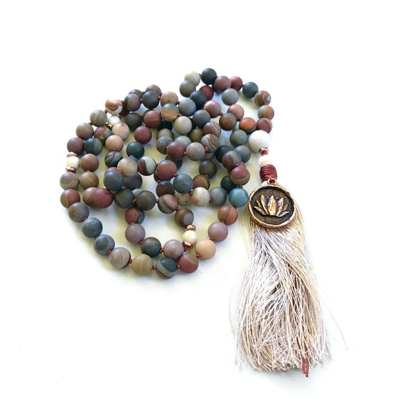 COURAGE AND WISDOM - Mala Beads - Landscape Jasper Mala Necklace - Earthy Mala Beads - Knotted 108 Bead Mala - Natural Healing Stones