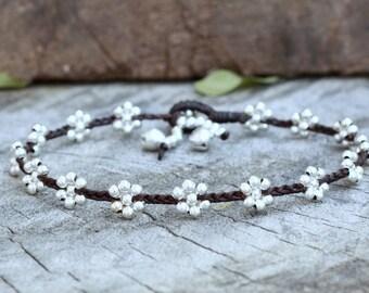 Flower Braided Silver Anklet