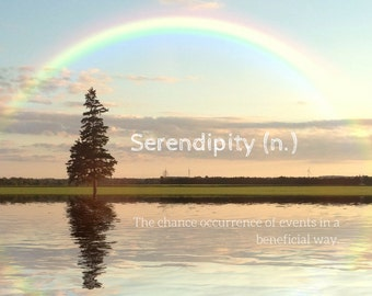 Serendipity Photo Greeting Card, 4x5 inspirational cards, blank inside, travel encouragement landscape, life event congratulations good luck