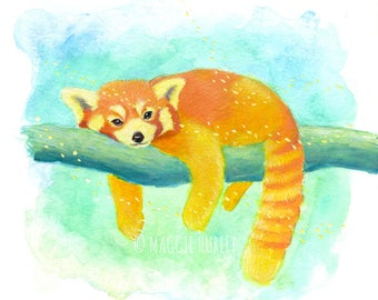 Red Panda Watercolor Gouache Art