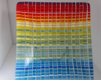 Fused and slumped glass platter