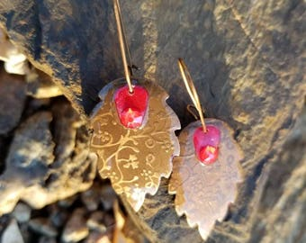 Flora Imprint Earrings / one of a kind  / gift idea
