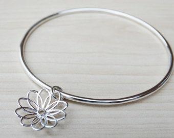 Silver Flower Bangle, Sterling Silver