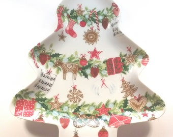 Porcelain Christmas Tree Dish from Germany