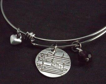 Sheet Music Bangle Bracelet, Sheet Music Charm bracelet, Music Teacher gift, Music Lover gift, Band Mom bracelet