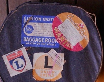 Now 20% off  VINTAGE LABELED LUGGAGE, antique carry on, hat box, suitcase, steamship lines, Mombasa, Montreal, London