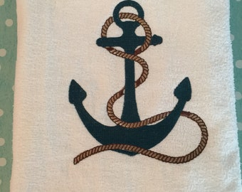 Embroidered Nautical Anchor Beach Towel