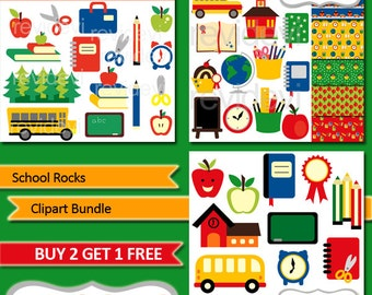 Back to school clipart sale bundle, digital papers / School Rocks / school supplies, school bus, books, pencils, apples