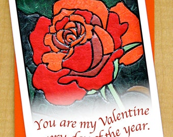 You are my valentine every day of the year Rose Card- Anniversary Card- Blank Card- Valentines Day Card- Love bloom Card- Red flower card