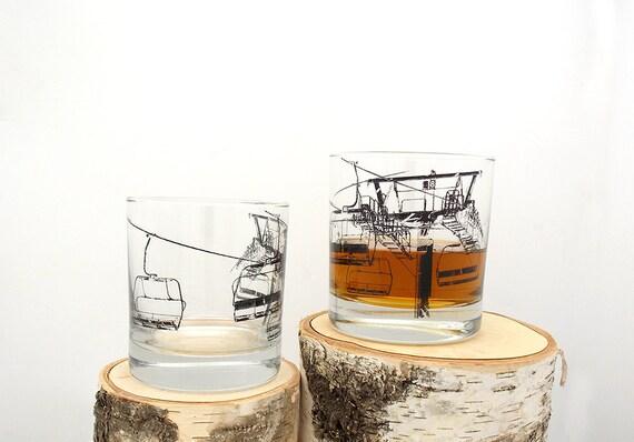 Ski Lift Whiskey Glasses - Set of Two
