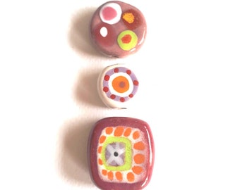 Set of 3 ceramic beads different shapes