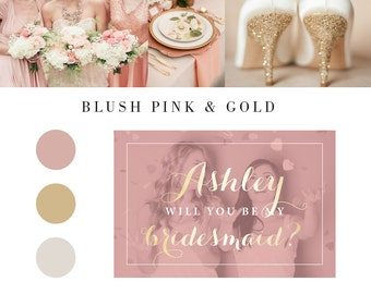 Blush pink gold Will you be my bridesmaid card, bridesmaid proposal, will you be my bridesmaid, bridesmaid card, bridesmaid proposal card