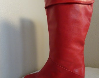 STUNNING Vintage 1980's Red Leather Boots Made In ITALY By 'Arnold Churgin' - USA Size 7