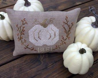 Autumn Pumpkin Pillow/ Cross Stitch Fall Pumpkin/Handmade Autumn Decor