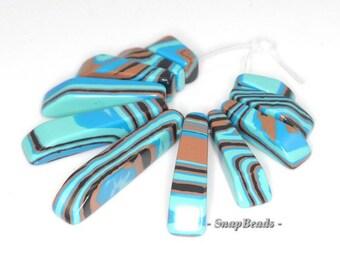 Matrix Turquoise Gemstone Blue Brown Loose Beads Graduated Set 11 Beads (90114188-108)