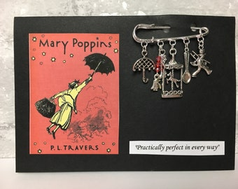Mary Poppins themed brooch ~ Quirky kilt pin ~ Practically perfect in every way ~ Silver plated ~ Unusual jewellery / jewelry gift x