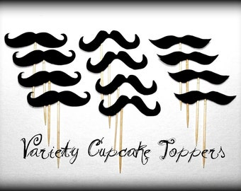 12 Variety Mustache Cupcake Toppers-Mustache on a Stick-Little Man Party-Mustache Party-baby shower-mustache theme-cupcake toppers