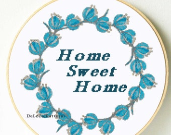 Home sweet home cross stitch pattern. Flower wreath cross stitch pattern. Floral cross stitch, housewarming gift, floral wreath embroidery.