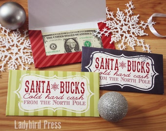 Santa Money Envelope - Stocking Stuffer - Christmas stocking stuffer for husband, kids, teens, tweens  - last minute - North Pole