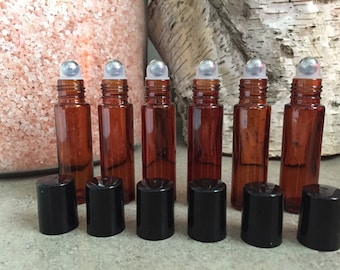 6 count --Metal Ball---10ml AMBER BROWN ROLLON Bottles for Essential Oils --Very handy
