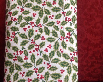 Christmas Holly, Metallic Fabric, Holly Leaves and Red Berries on a white background, Christmas Fabric, Fabric by the Yard, Cut from the Bol