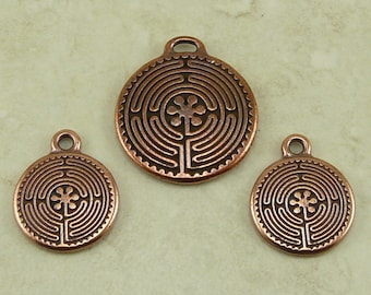 3 TierraCast Labyrinth Maze Charms and Pendant Mix * Zen Tranquility Yoga Buddhist - Copper Plated Lead Free Pewter - I ship Internationally
