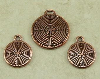 3 TierraCast Labyrinth Labyrinth Charms und Anhänger-Mix * Ruhe Yoga buddhistischen Zen - Kupfer versilbert führen kostenlose Zinn - ich International versende
