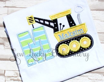 Construction Letter or Number Custom Embroidered T- shirt