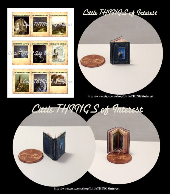 ENCHANTED CASTLES Miniature Book Dollhouse 1:12 Scale COLOR Illustrated Book Witch Wizard Fortune Teller Gypsy Potter Magic