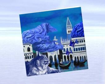 Cat, cat greeting card, cat art: Blue Cat in Venice