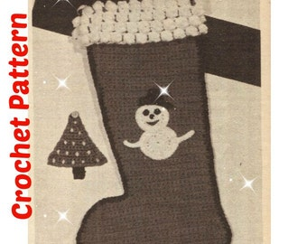 CROCHET CHRISTMAS STOCKING Pattern Vintage 70s Crochet Christmas Stocking Crochet Christmas Decor