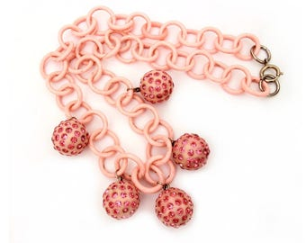 Pink Celluloid Chain Necklace with Ball Pendant Dangles Rhinestones Pink Valentines Day, Pretty in Pink, Vintage Plastic Necklace Rhinestone