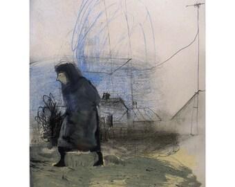 Stranger original illustration drawing man figurative people