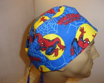 Men's scrub hat, surgical hat, chemo hat, Spiderman tossed, ties in back, cotton, only one we have, FREE US SHIPPING