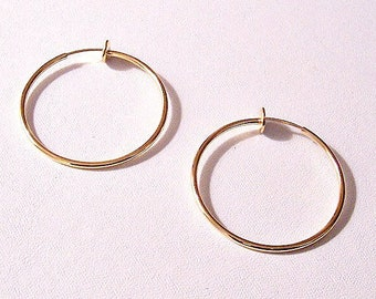 "1 3/8"" Thin Tube Hoops Plunger Clip On Earrings Gold Plated Vintage Smooth Polished Large Open Dangle Rings"