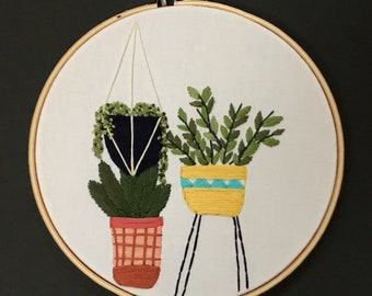 trio of potted plants 8-inch embroidery hoop