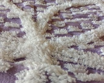 Huge Piece of Vintage Chenille Bedspread Fabric Wedding Ring Lavender and White / 60 x 53 Inches / Salvaged Chenille Bedspread