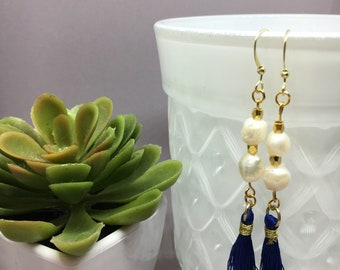 Blue tassel earrings with 14k gold plated hooks, mother of pearl and gold beads