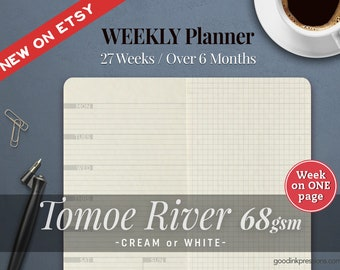 TOMOE RIVER 68gsm WEEKLY Planner, Traveler's Notebook - 12 colours, Fountain Pen Paper