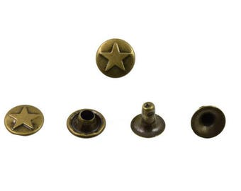 50 pcs Antique Brass Vintage Star Rivet Stud Buttons Rivet Leather Crafts Fashion Decor DIY Findings Supplies 9 mm. Str BR 94 RV 403
