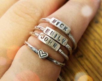 Mother's day gift Personalized, sterling silver, children's name, stacking rings, for mothers, gift under 20