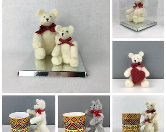 Collectable bear, teddy bear, naald vilten Beer, miniatuur bear, beweegbare Beer, naald vilten, verzamelaars Beer, Gevilte beeldhouwkunst, 3D vilt