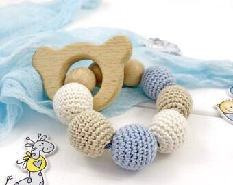 Baby teether ring, Wooden teething toy, Teething ring, Teething ring beaded, Crochet teether, Rattle teether toy, Baby teething bracelet