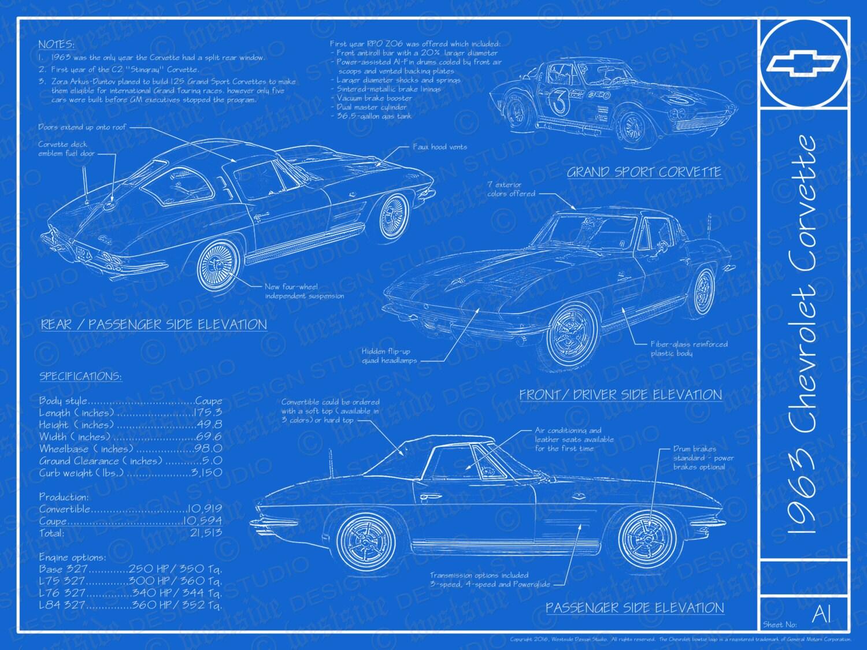 1963 chevrolet corvette blueprint poster 18x24 zoom malvernweather Images