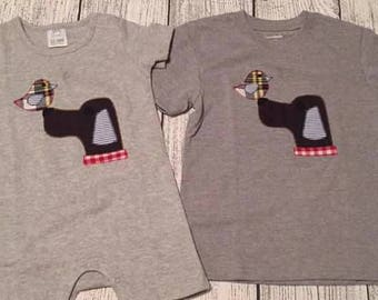 Bird Dog Raggy Applique shirt/body suit