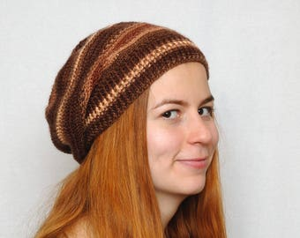 Beauty gift Slouch beanie Womens hat Brown Crochet hat Knitted slouchy hat Birthday gift for coworker gift for mom winter gift for friend